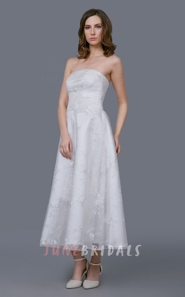 Tea length sleeve wedding dress  Glamour Tealength Organza Gown With Floral Sash u June Bridals