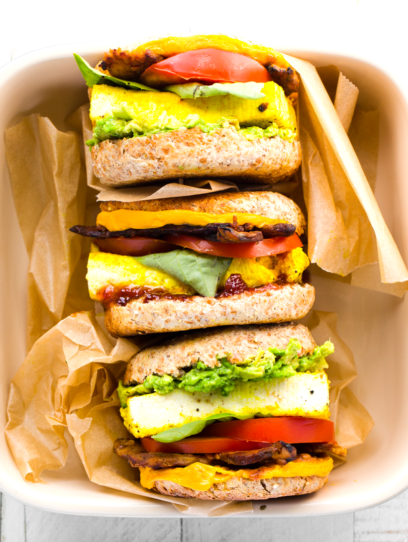 Vegan Breakfast Sandwiches With Eggy Tofu And All The Goodies Healthyhappylife Com Vegan Sandwich Vegan Sandwich Recipes Vegan Breakfast Recipes