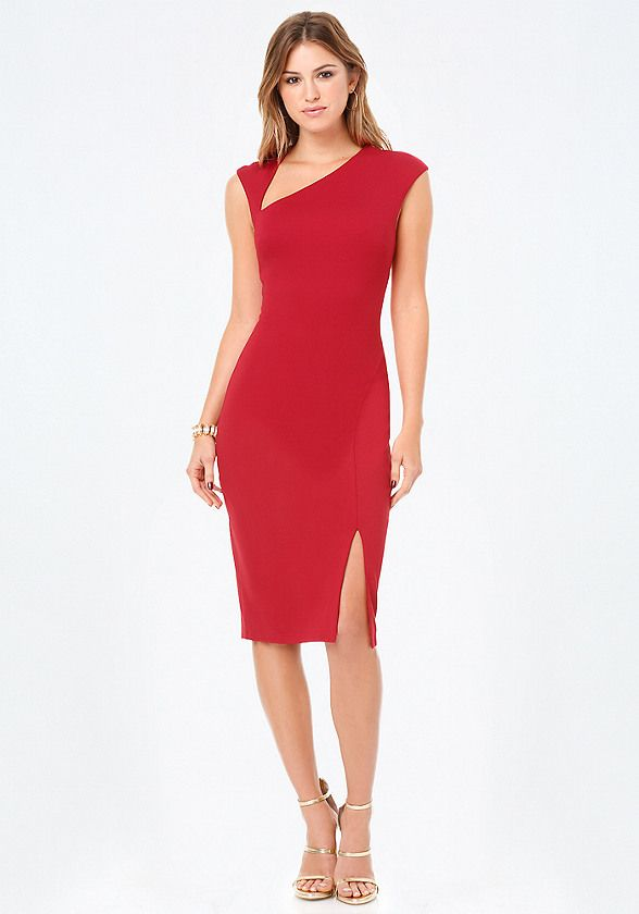 Red Office Dress Front Photo