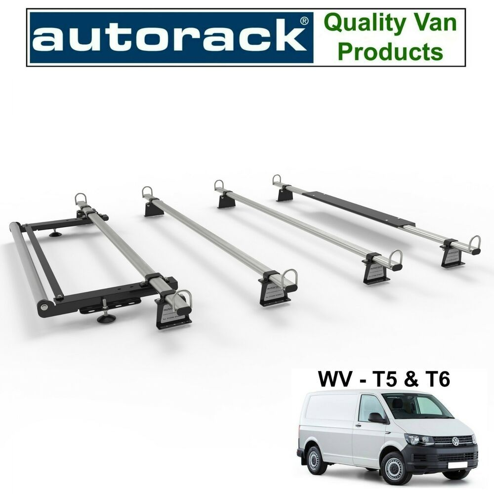 Workready Van Roof Rack 4 Bars Vw T5 T6 Transporter With Rear Roller Kit Autorack Roof Rack Van Roof Racks Vw T5