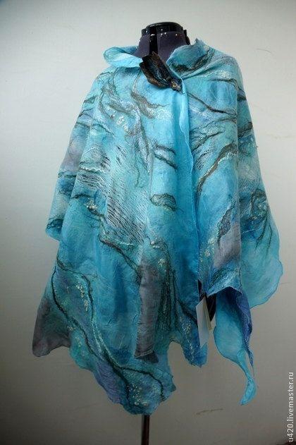 Nuno felted blue turquoise scarf shawl poncho felting wool luxury ... 5e3f5f0174