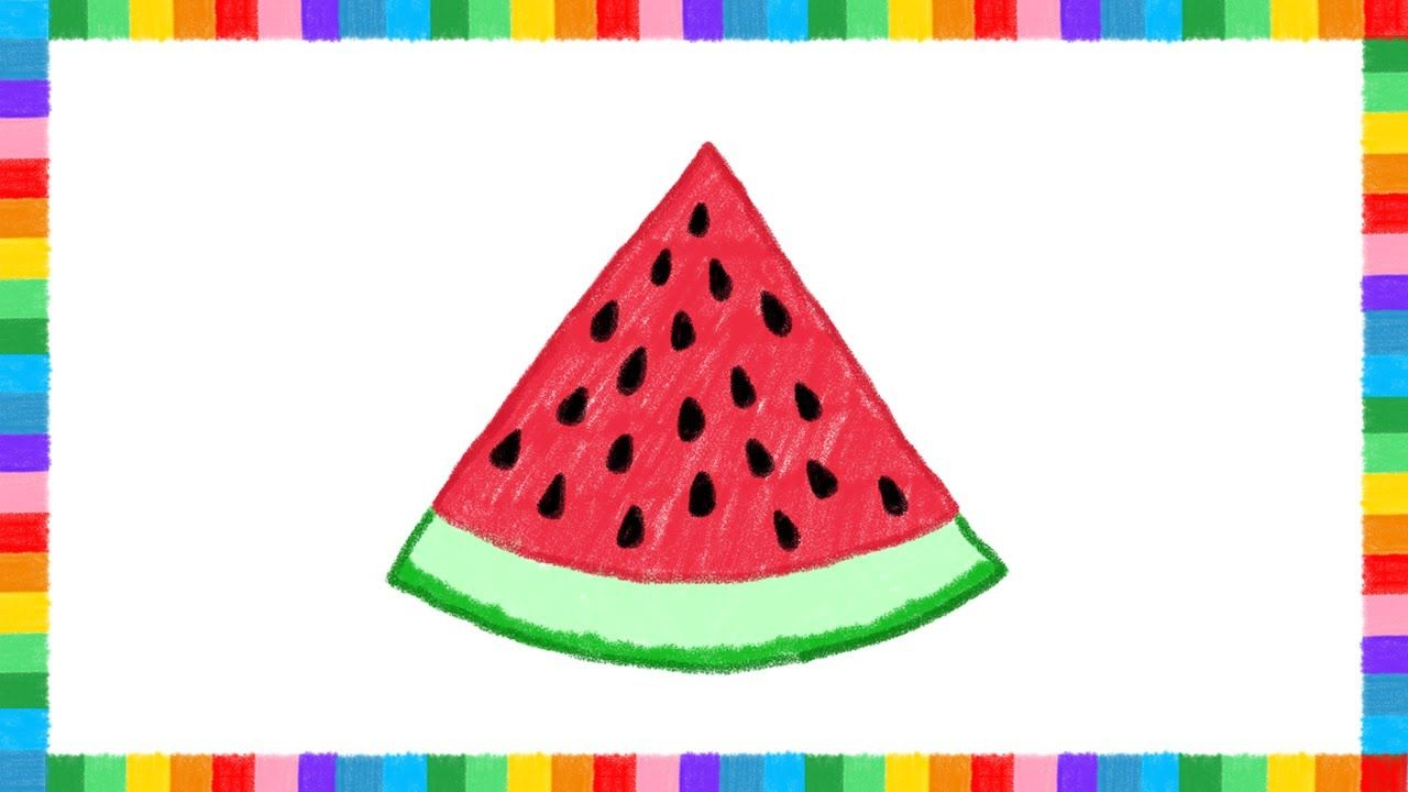let u0027s draw a watermelon slice with color crayons kids coloring
