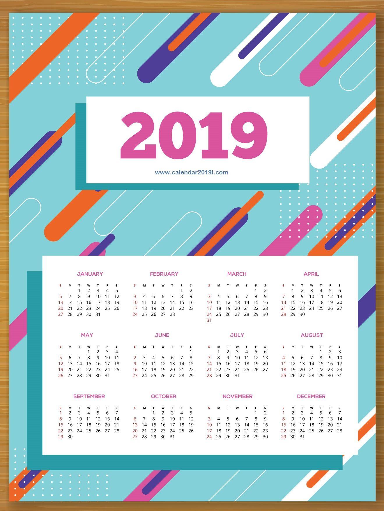 Printable 2019 Wall Calendar Wall Calendar Design Calendar