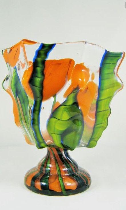 Czech Art Deco Glass Vase Ca 1920s 30s Kralik Wilhelm Kralik