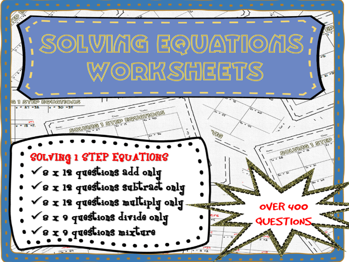 One step equations worksheets (over 400 questions!) One
