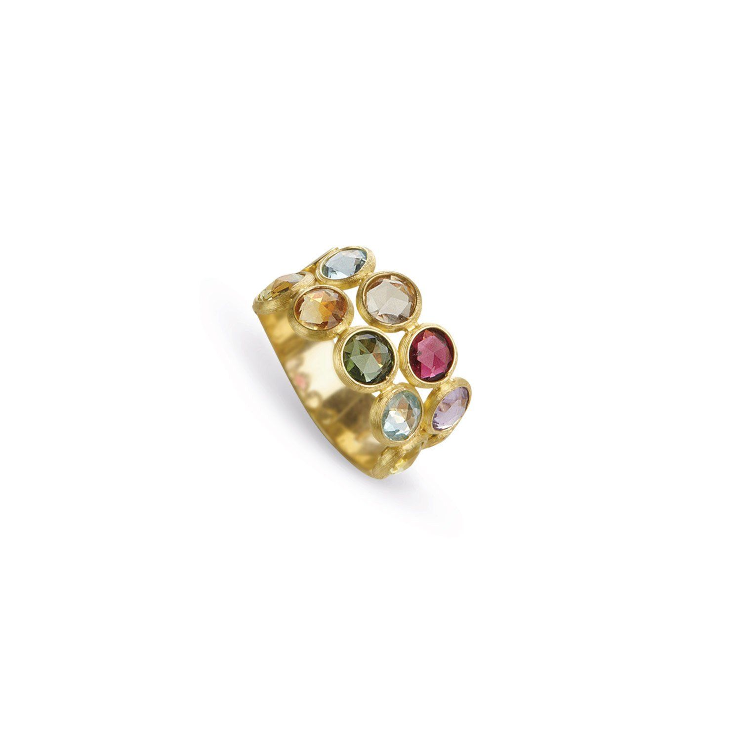 Jaipur Two Row Mixed Gemstones Ring