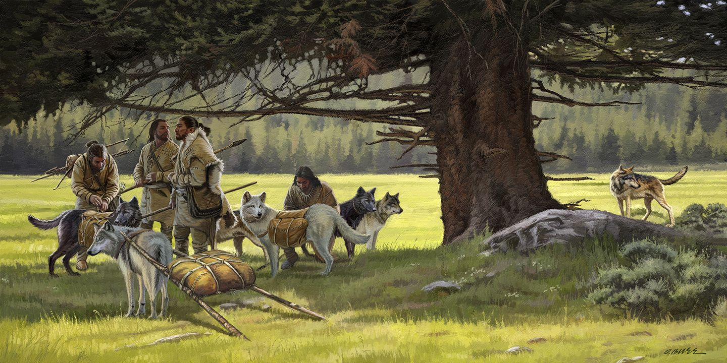 008 Early Man and Dogs Dan Burr Fly fishing art, Hunting