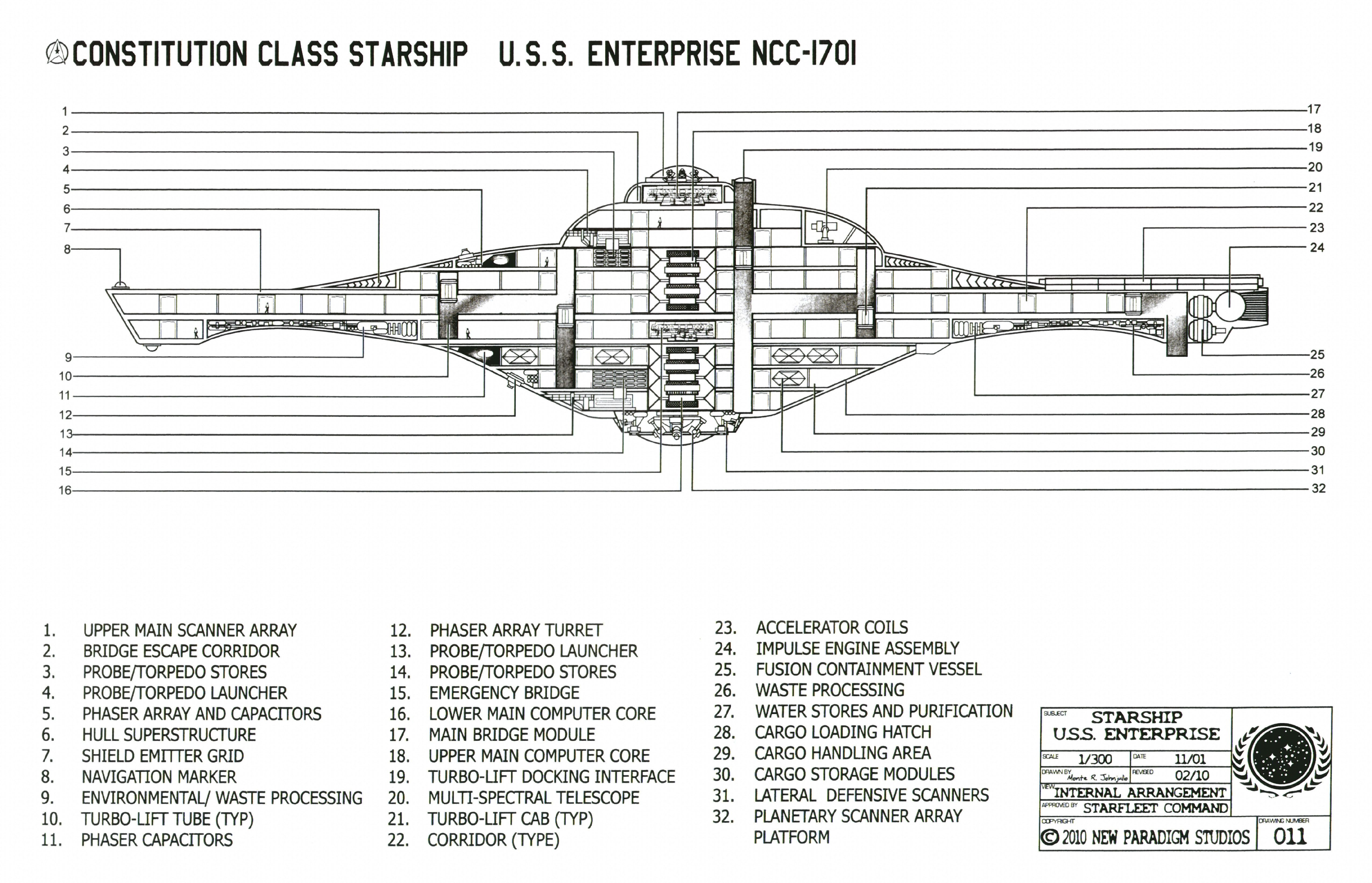 Star Trek Blueprints Constitution Class Starship USS Enterprise