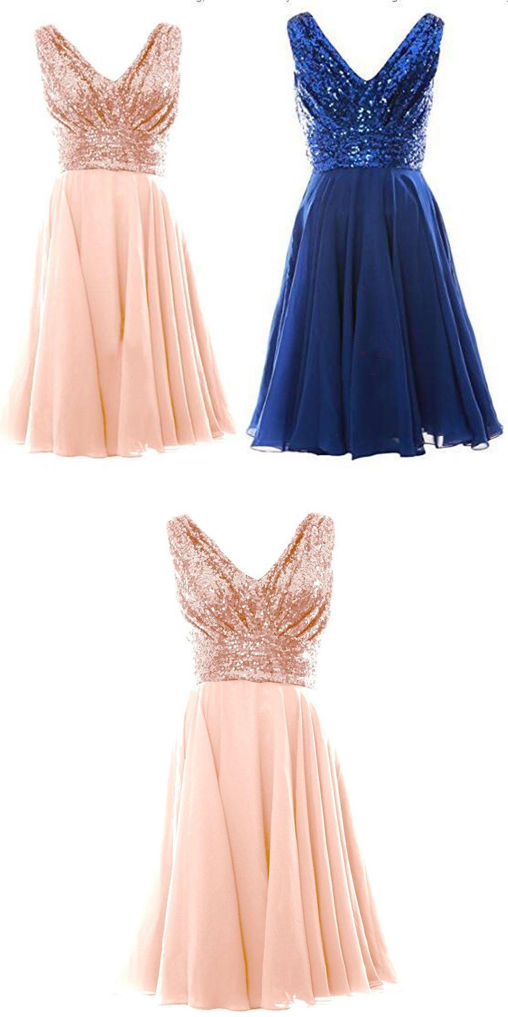 Blush Pink V Neck Sleeveless Chiffon Short Bridesmaid Dress With Rose Gold Sequins Prom Gold Dress Short Short Gold Bridesmaid Dresses Short Bridesmaid Dresses [ 2049 x 1024 Pixel ]