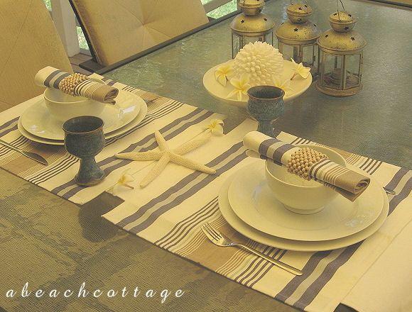 Coastal Cottage Tablecloths | On A Beach Cottage Deck   Beach Decor Blog,  Coastal Blog
