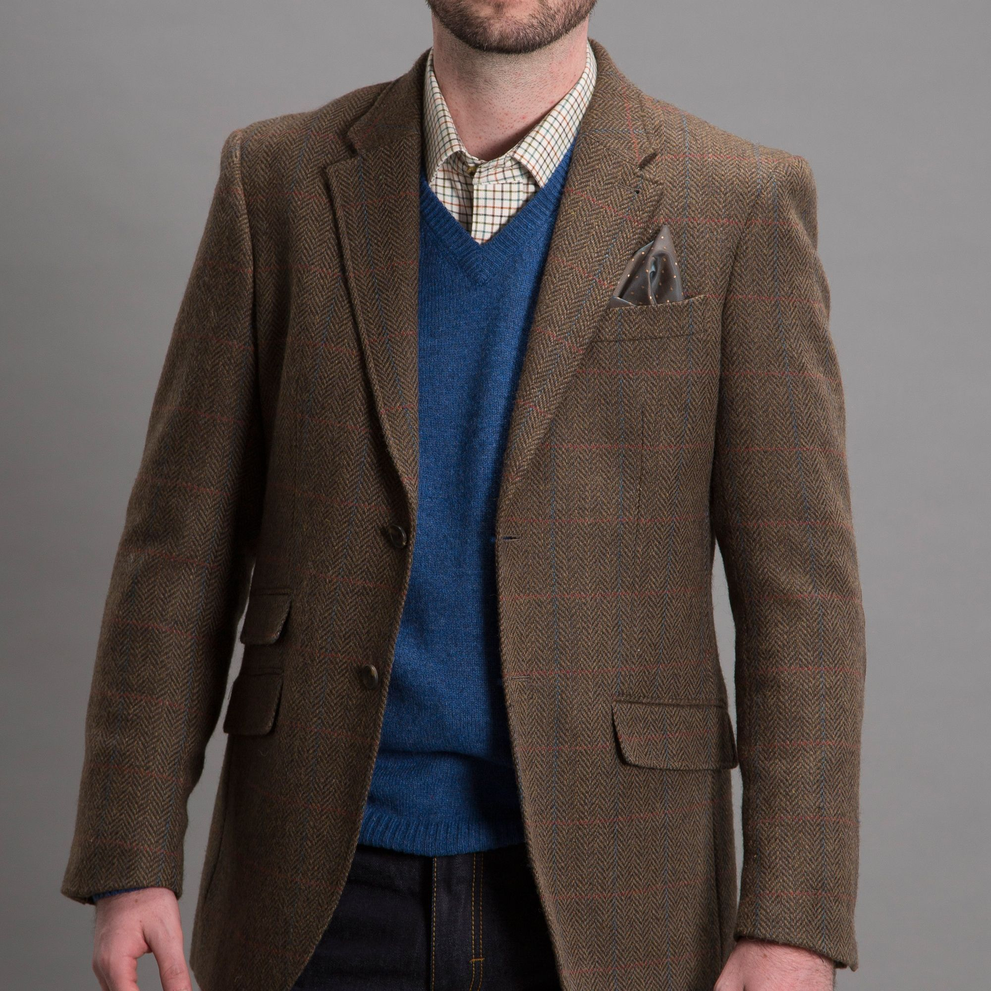 HARVEY & JONES 'Nick' Wool Mix Brown Blazer - Blazers & Jackets ...