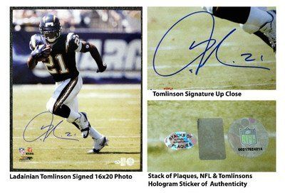 Ladanian Tomlinson Signed 16x20 San Diego Chargers Photo Stack Of Plaques Coa 100 00 All Pro National Football League Running Backladainian Tomlinsonhand Si