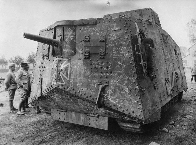 Captured German A7V  at Villers-Bretonneux, France. The A7V was intended to be used together with troops of a Sturmabteilung, racing over relatively flat terrain. The British tanks were too slow for this job but the A7V could manage almost 15 km/h (9 mph) until it reached a trench.