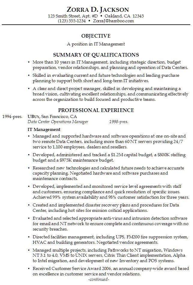 Exceptionnel Sample Overview For Resumes