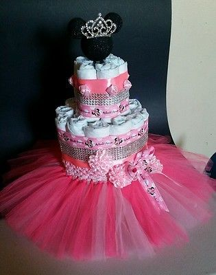 Baby Shower Or Birthday Minnie Mouse Diaper Cake