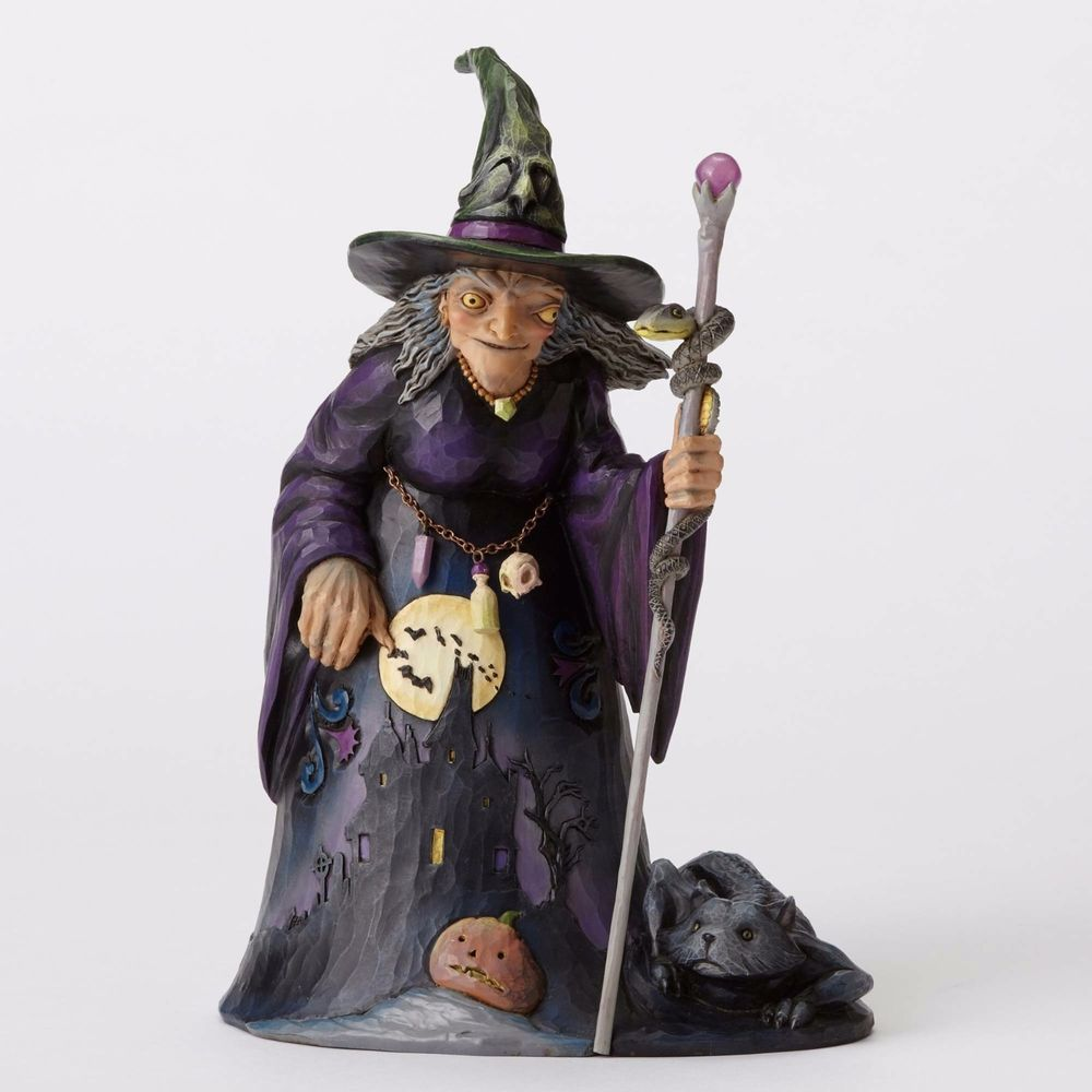 Jim Shore Witch With Haunted House Scene Heartwood Creek 9