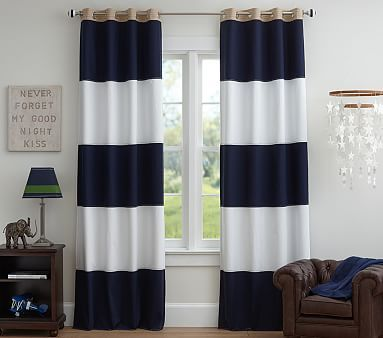 Rugby Blackout Curtain Panel Blackout Panels Pottery Barn Kids Striped Curtains