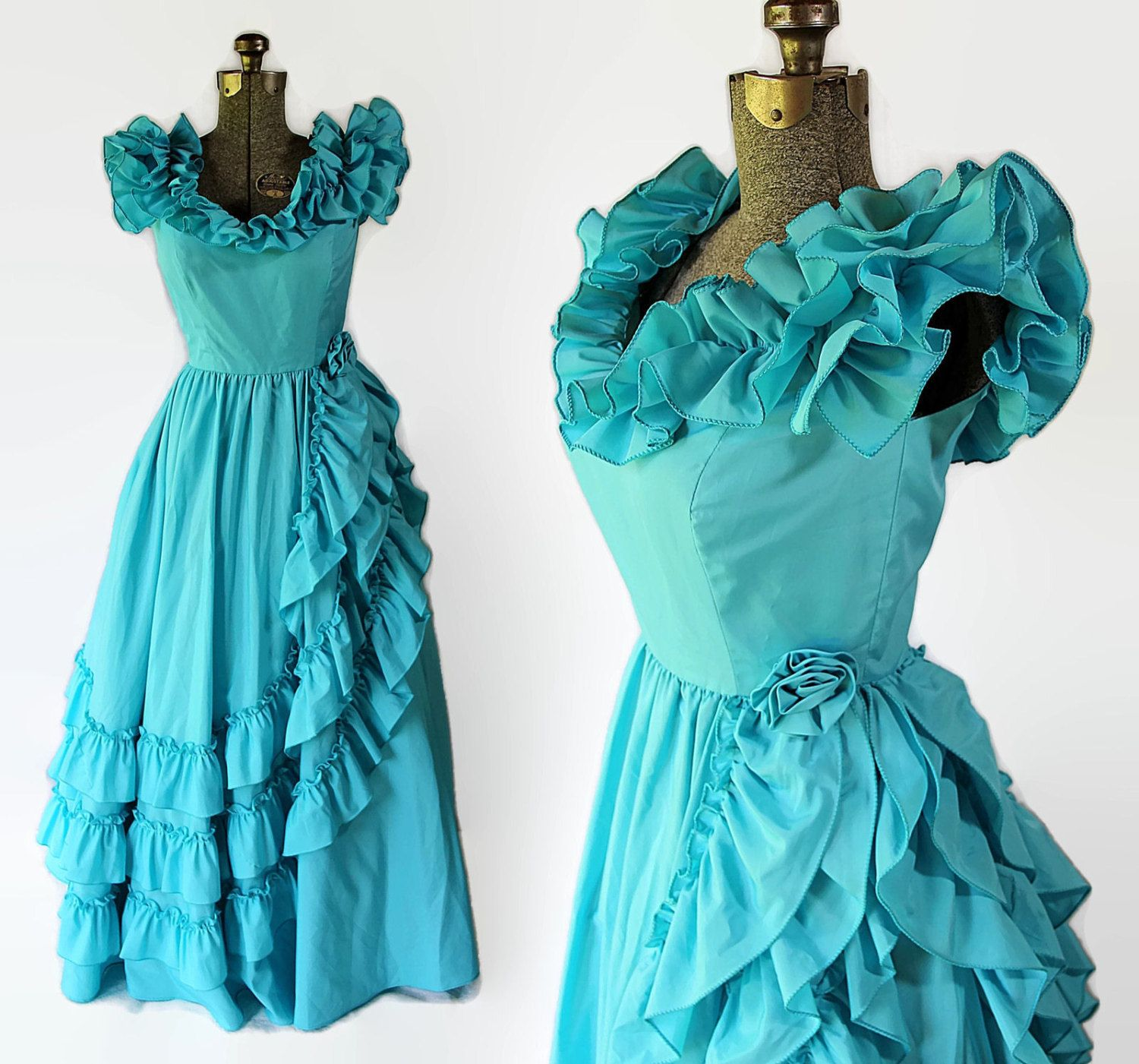 70s 80s Southern Belle Dress Blue Prom Vintage Wedding Bridesmaid ...