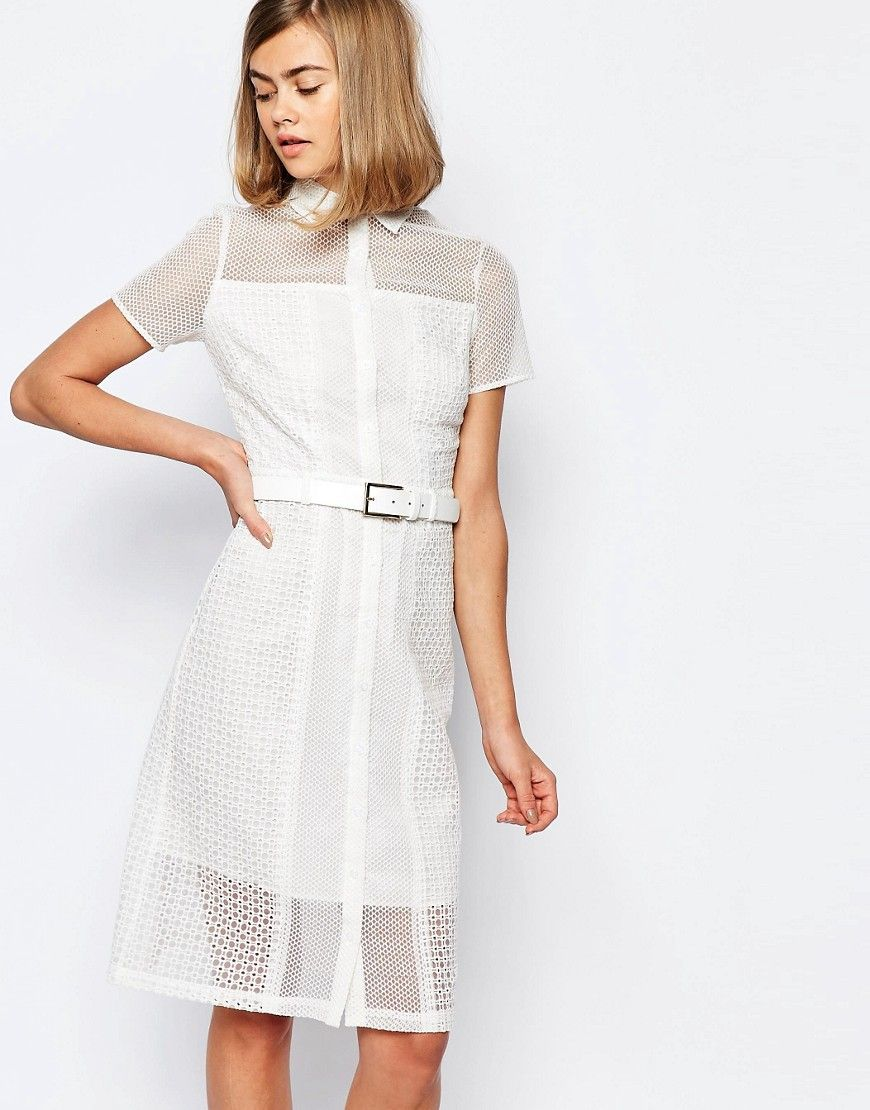 Image of lost ink lace tshirt dress with belt fictional