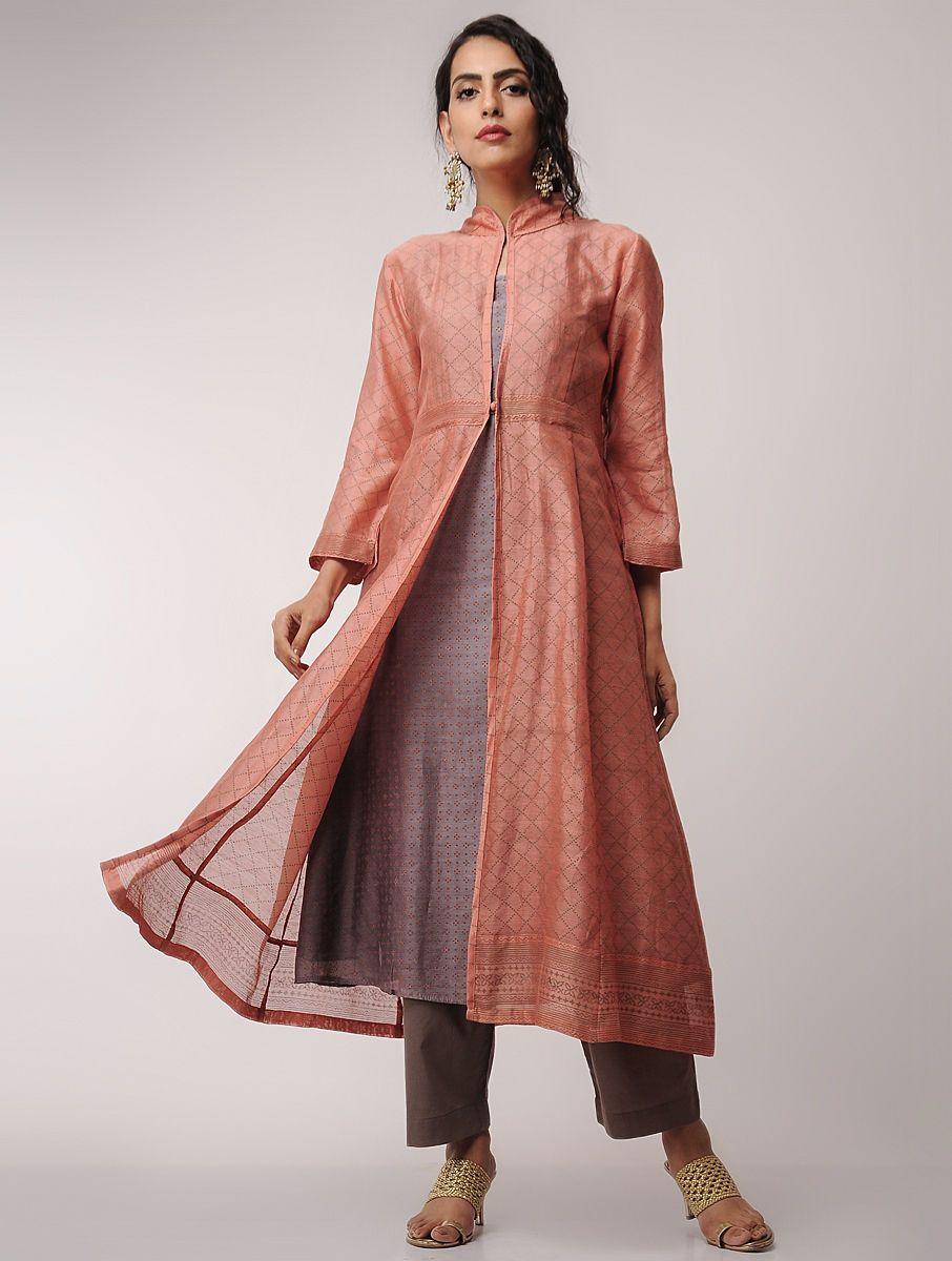 5e3ad18b90f Buy Orange Grey Block printed Chanderi Kurta with Jacket by Jaypore (Set of  2) Women Kurtas Online at Jaypore.com