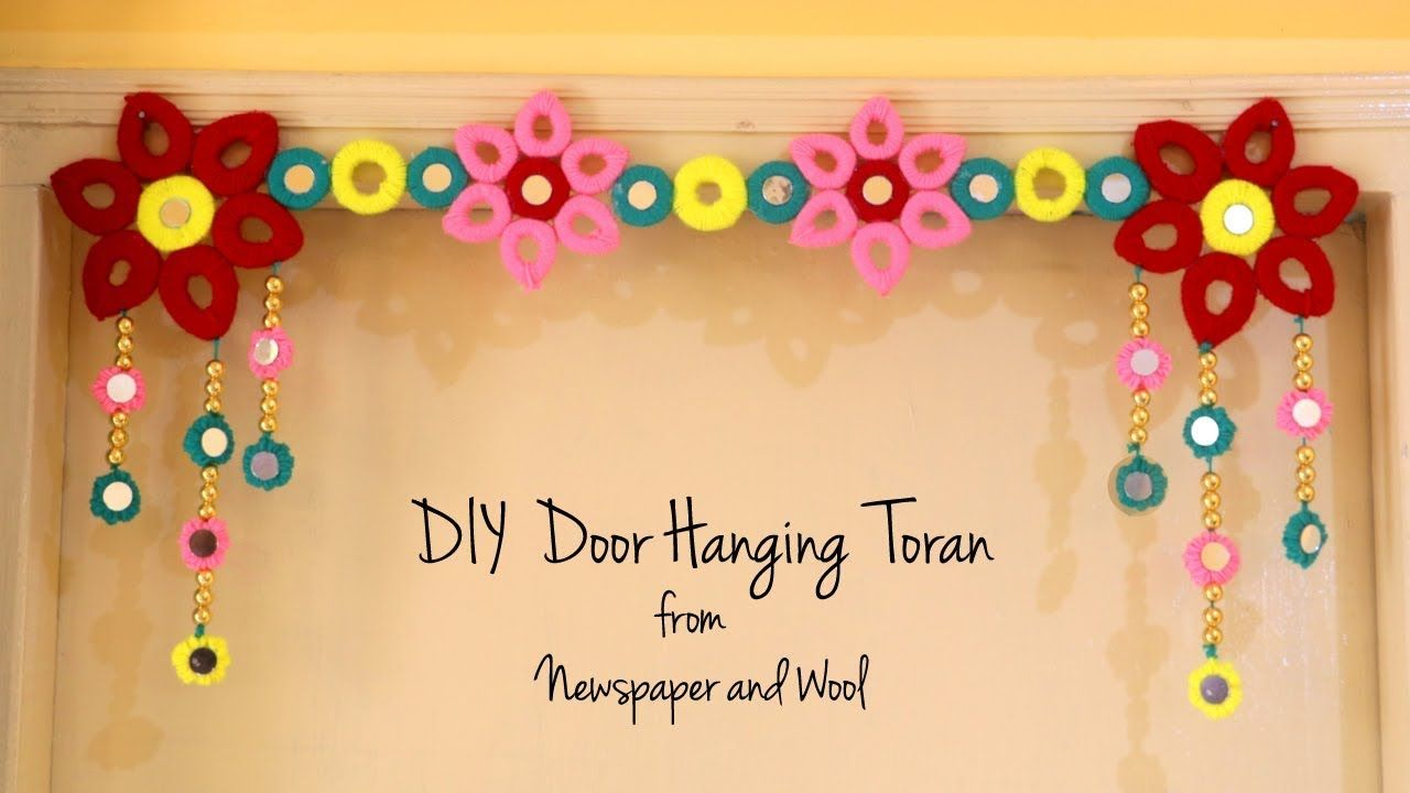 Diy Door Hanging Toran Diwali Decoration Ideas Bandhanwar Making At Home Newspaper Crafts Youtube Diwali Decorations Diy Door Newspaper Crafts