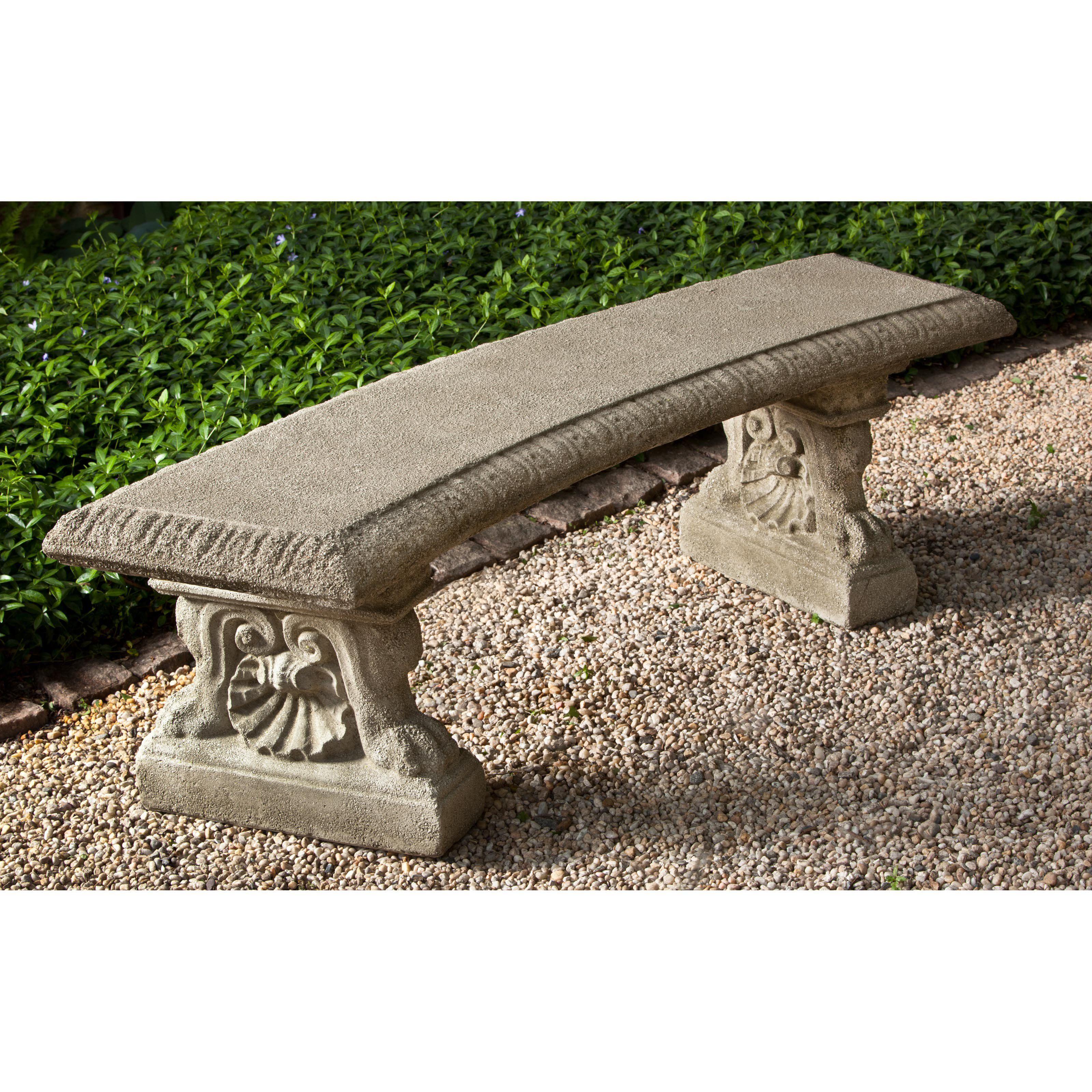 Campania International Westbury Cast Stone Backless Garden Bench   Aboutu2026