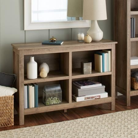 10 Spring Street Farmhouse Horizontal Bookcase Walmart Com Horizontal Bookcase Bookcase Decor Family Room Design