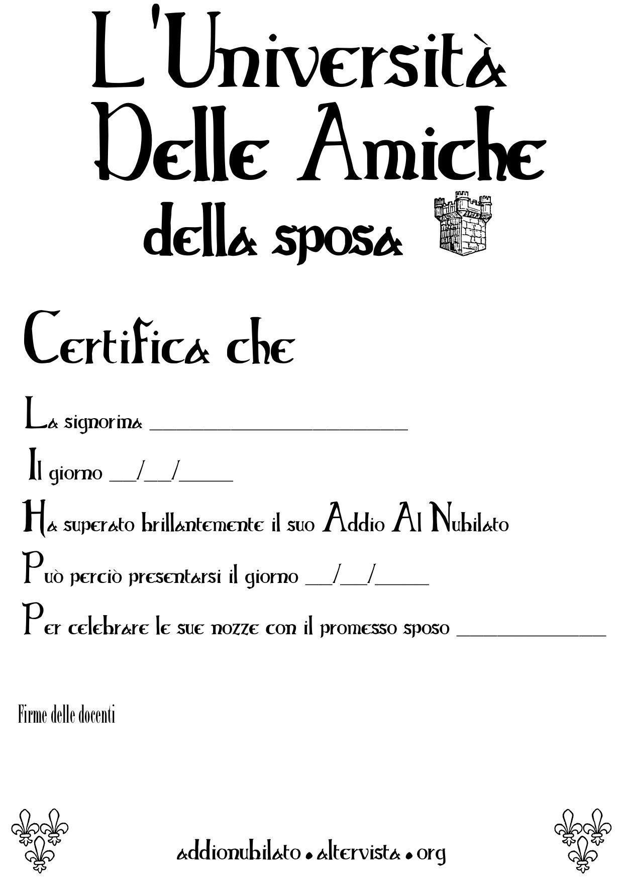 Diploma addio al nubilato http addionubilato - Idee scherzi addio al nubilato ...