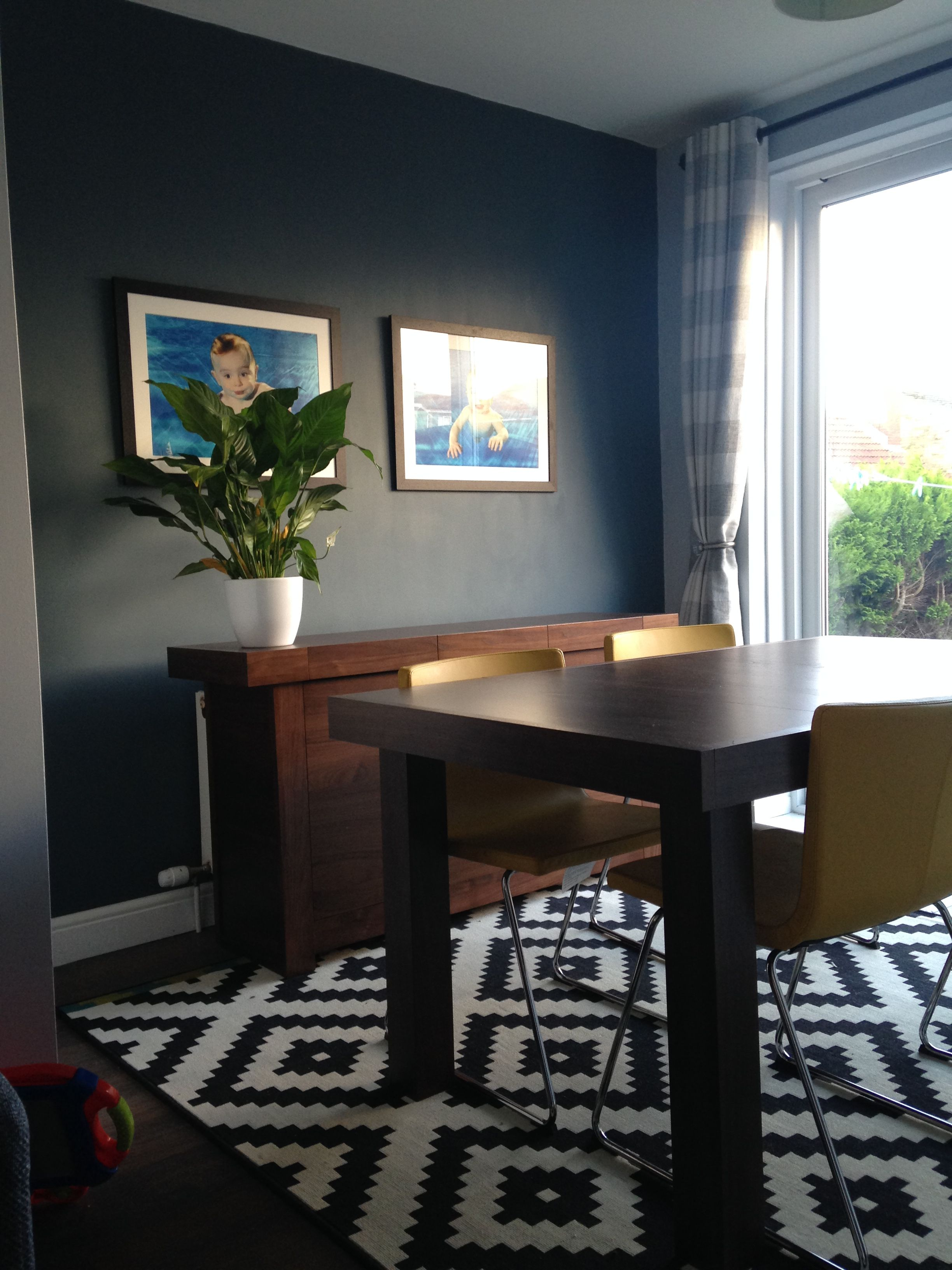 Finally My Finished Dining Room Dulux Steel Symphony Blue Grey Dark Wall With Lighter Grey Walls Living Room Dark Grey Walls Living Room Finished Dining Room