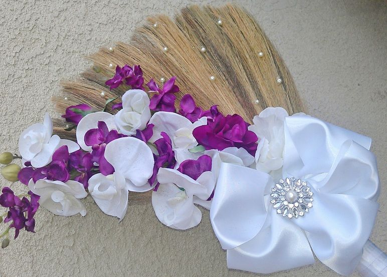 Purple And White Ceremonial Wedding Broom Jumping Broom On Etsy Com Wedding Broom Wedding Arrangements Violet Wedding