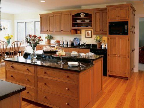 Cherry Wood Kitchen Cabinets Black Granite