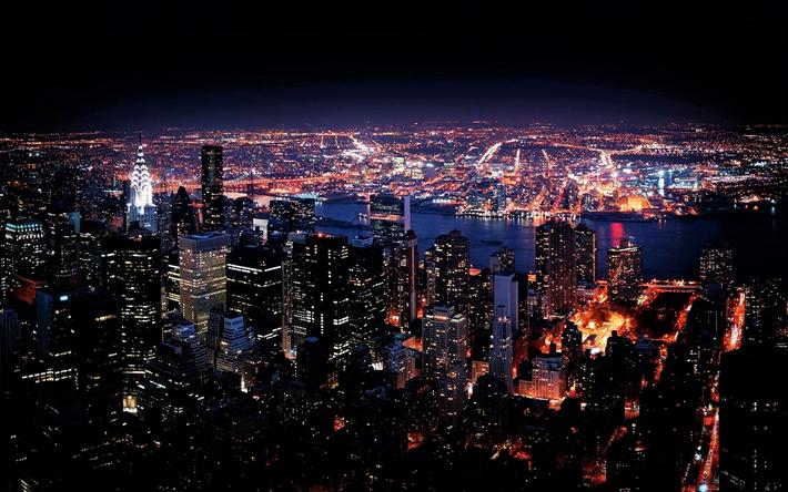 New York City Night Skyline Wallpaper
