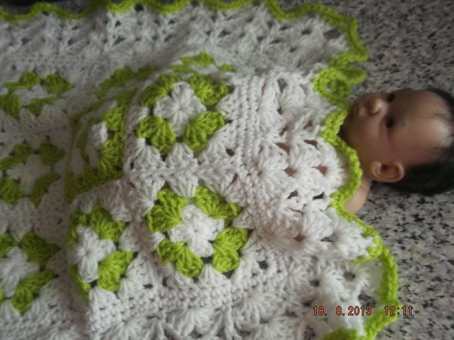 CROCHET BLANKET for Prem Baby or Doll   ID 828  (nannycheryl original) £15.00