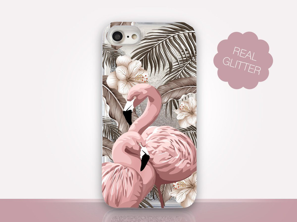 Floral flamingo glitter clear phone case