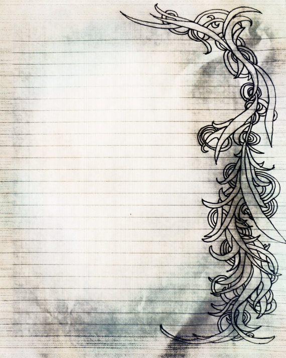 Printable Charcoal Sketch Swirl Filigree Lined Journal Page - printable lines paper