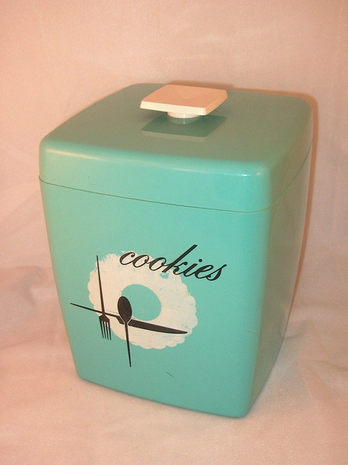 Boite Metal Cuisine Vintage Vintage Retro Aqua Plastic Cookie Jar W Handled Lid Kitchen