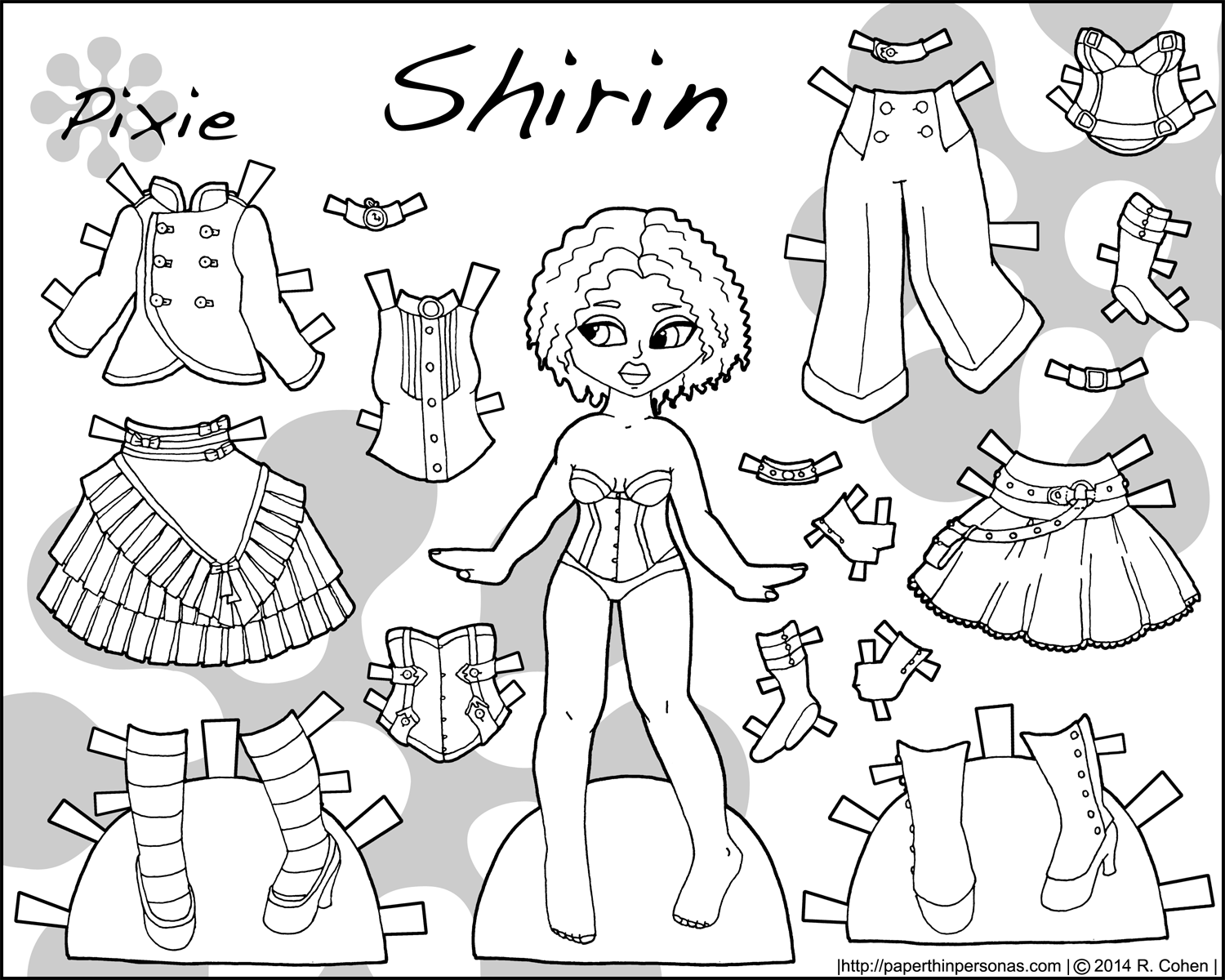 steampunk coloring pages shirin steampunk paper doll colorable doll - Paper Doll Clothes Coloring Pages