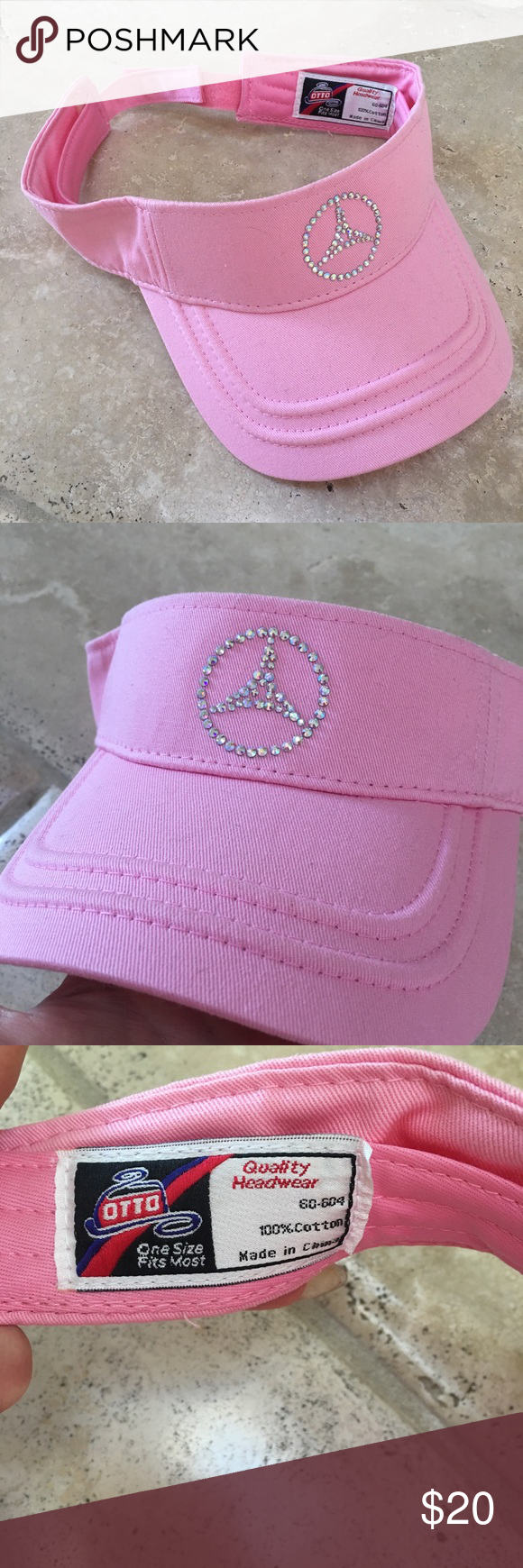 df6a76b7ae0 Pink bling new Mercedes Benz Visor hat logo golf Mercedes Benz pink bling  logo visor hat ✨ new never used ✨ adjustable velcro back ✨ 100% cotton ✨  great ...