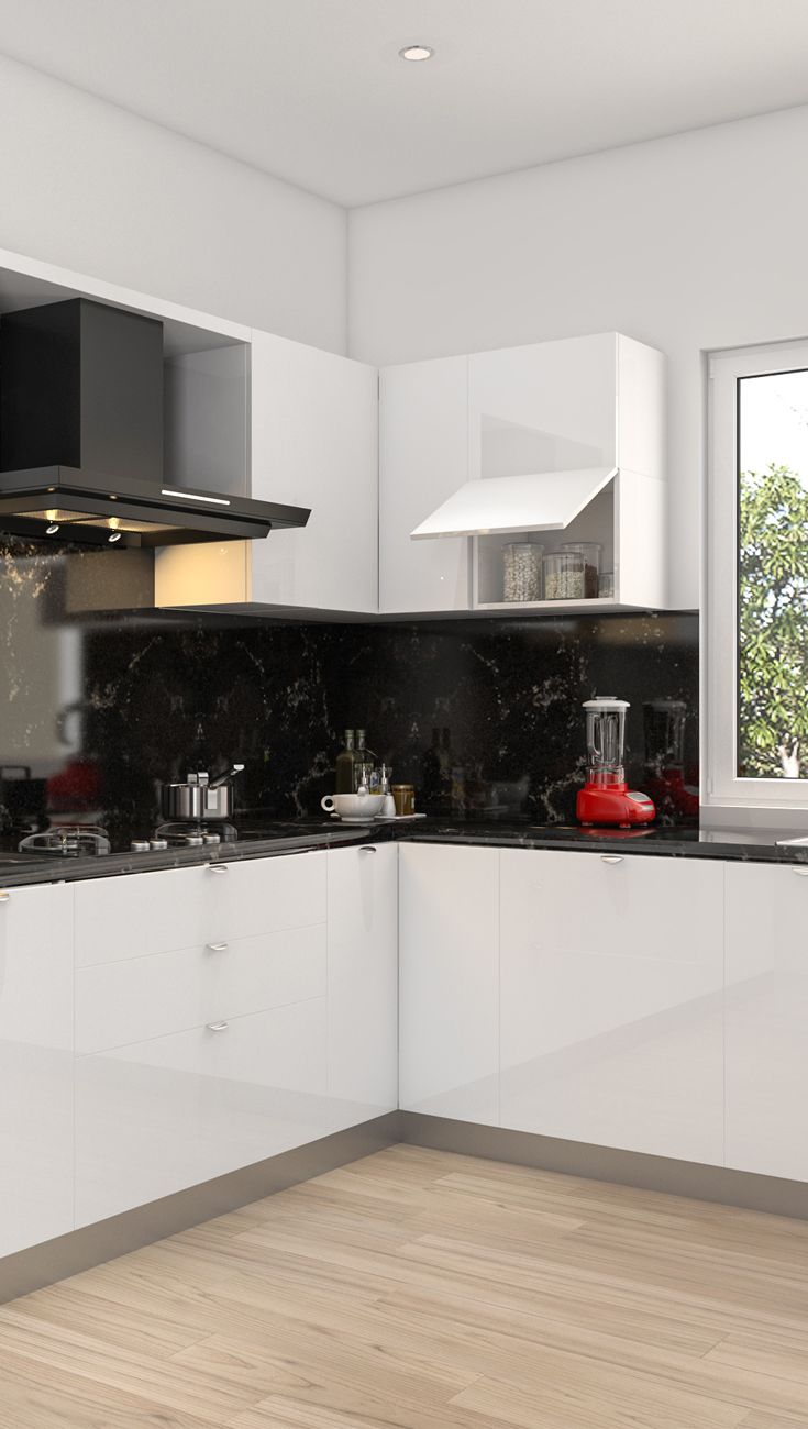 All neat, classic white, L shaped kitchen. #modularkitchen ...