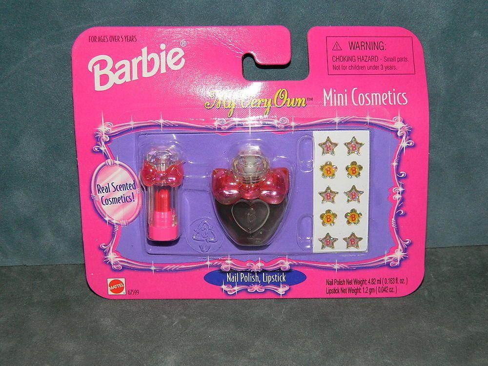 Barbie MY VERY OWN MINI COSMETICS Nail Polish & Lipgloss Make-up Pack 1998 #Mattel