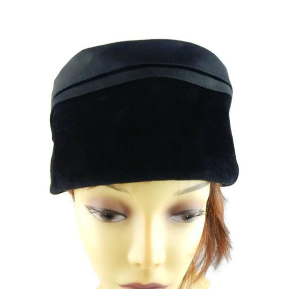 Black Velvet Hat Pillbox or Torque Style with Union Label Made USA ... ef89bd22986b