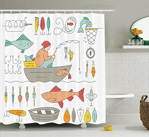 Ambesonne Home Decor Collection Bathroom Shower Curtain Sets With Hooks By Ambesonne Http Www A Nautical Shower Curtains Bathroom Decor Sets Shower Curtain