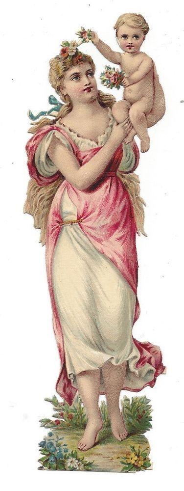 Victorian Die Cut Scrap Woman carrying Baby on shoulder