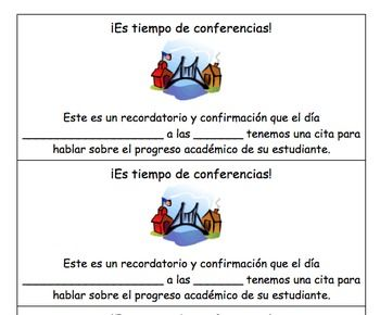 ParentTeacher Conference Reminder English AND Spanish