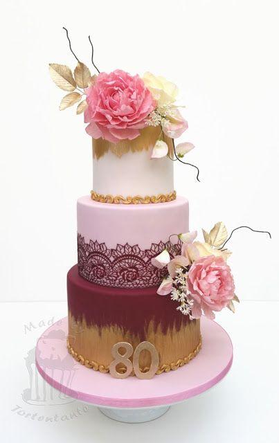 Motivtorte 80 geburtstag hochzeit gold blumen kuchen torten und dessert - Geburtstagsideen zum 90 ...