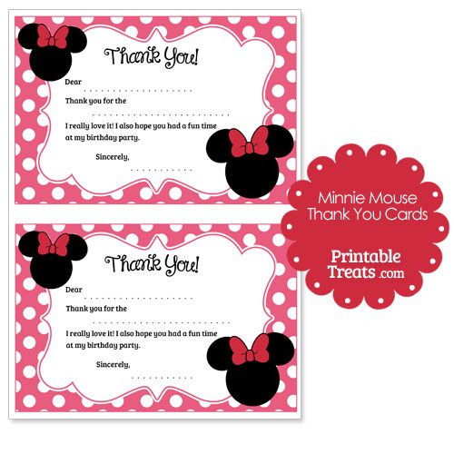 Printable Minnie Mouse Thank You Cards from PrintableTreats - printable thank you note