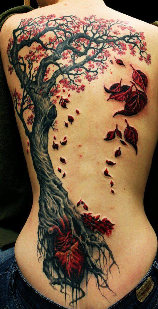 Тату на спине девушки - дерево с опадающими листьями ...