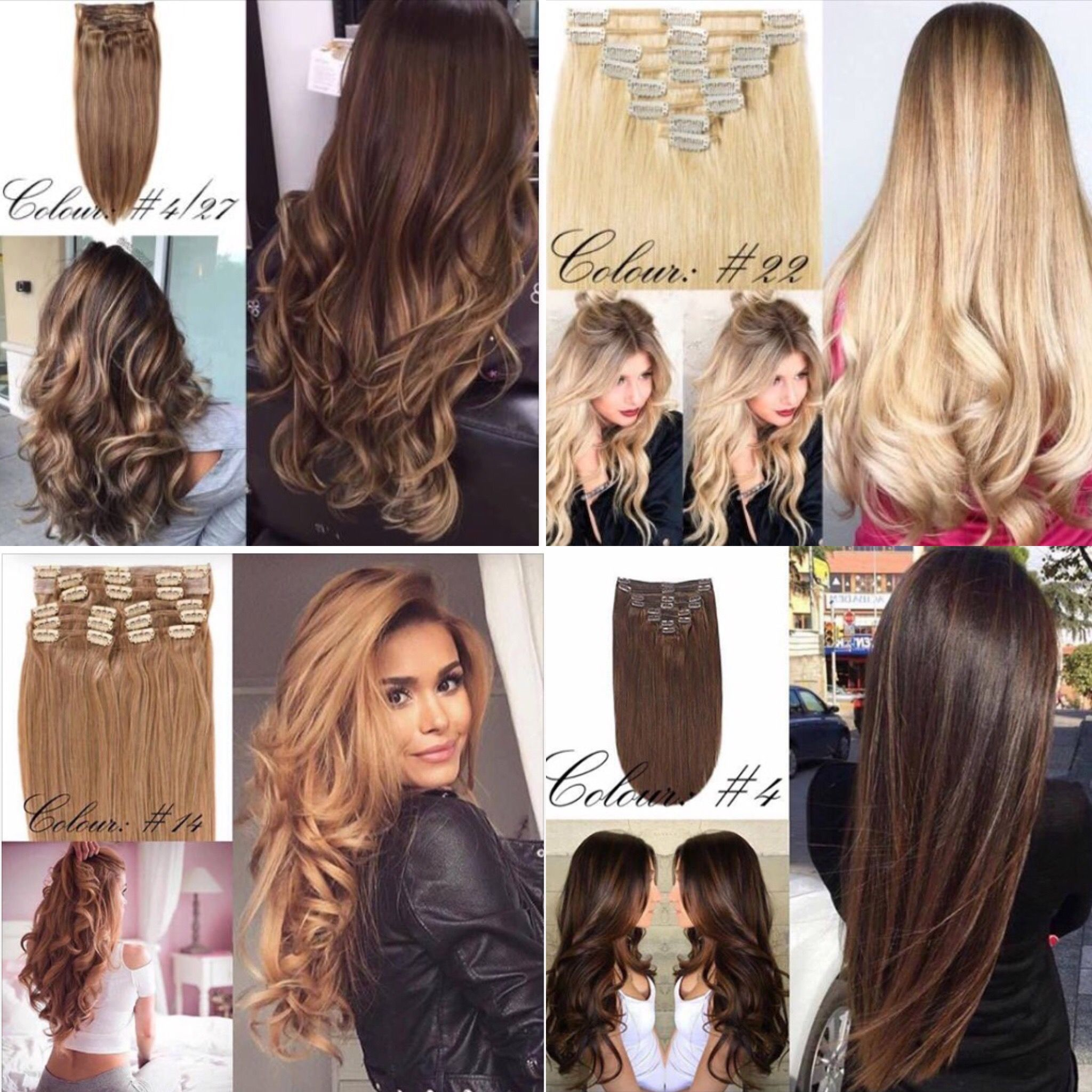 Natural Clip In Hair Extensions Variety Of Colours Add More Volume