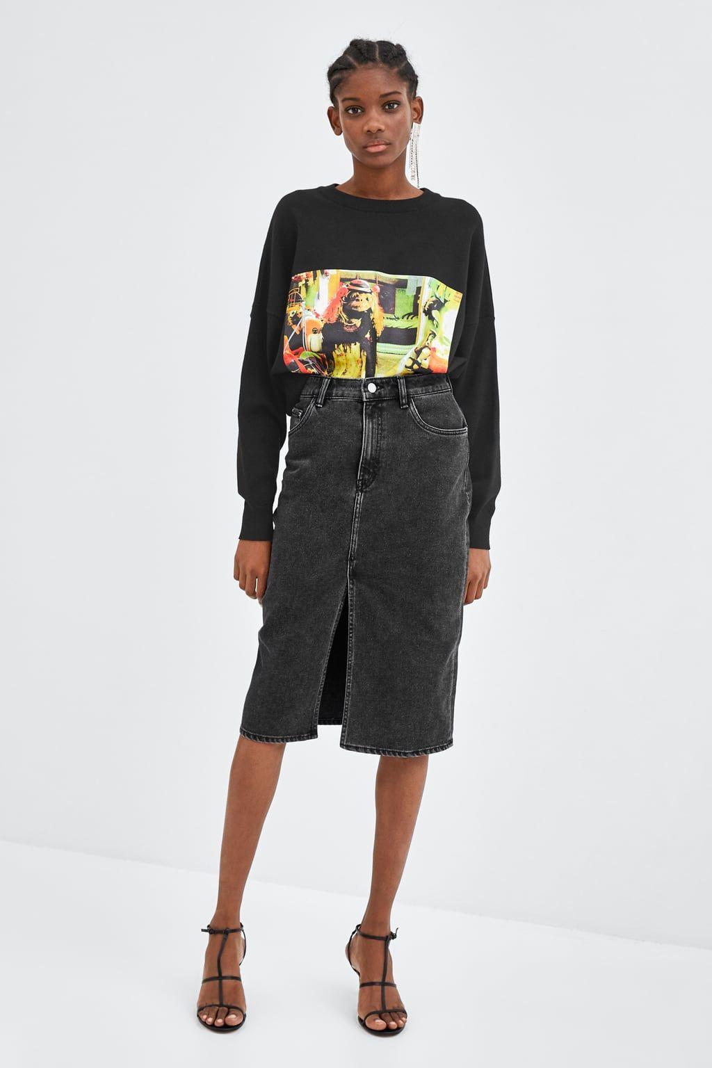 6542991805fc7c FALDA DENIM MIDI | My zara | Jupe en jean, Jupe et Jeans