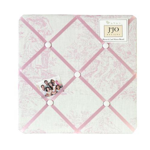 Pink Toile Fabric Memo Board  French Ribbon NoticePhoto Pin